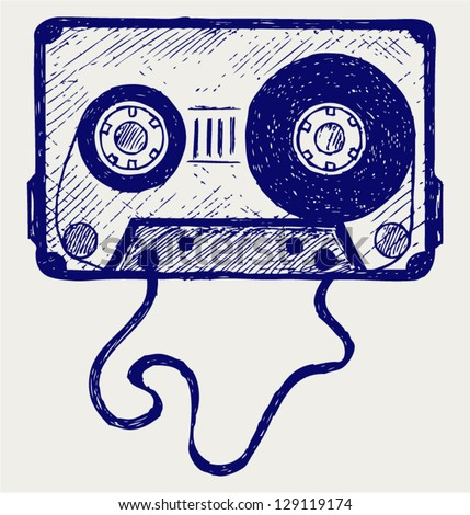 Audio cassette tape. Doodle style - stock vector