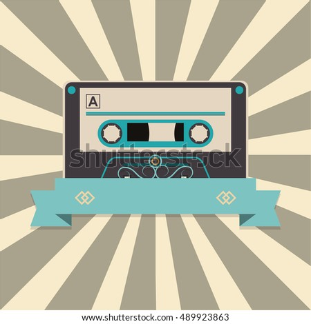 audio cassette tape over striped background and banner image