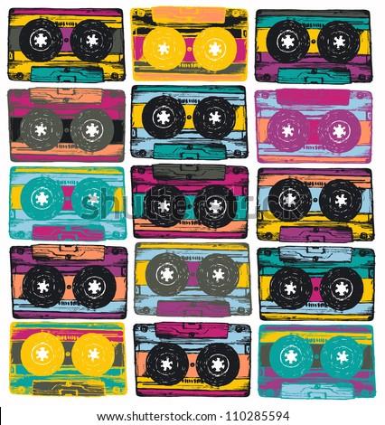 Audio cassettes - stock vector