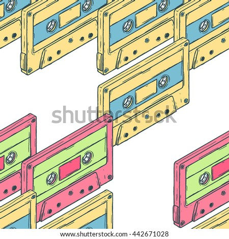 Audio cassettes pattern seamless. Isometric view audio cassettes. Musical pattern seamless.
