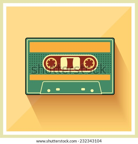 Audio  Compact Cassette Tape on Retro Background vector - stock vector