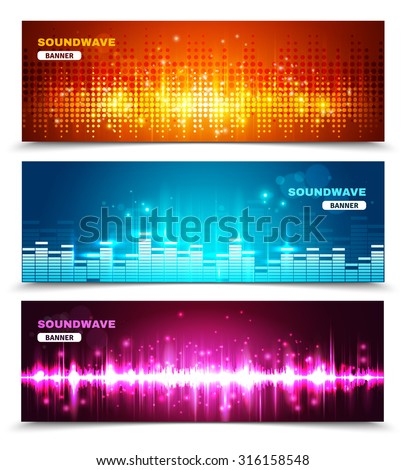 Audio equalizer sound wave display 3 horizontal banners set in vivid bright colors abstract isolated vector illustration - stock vector