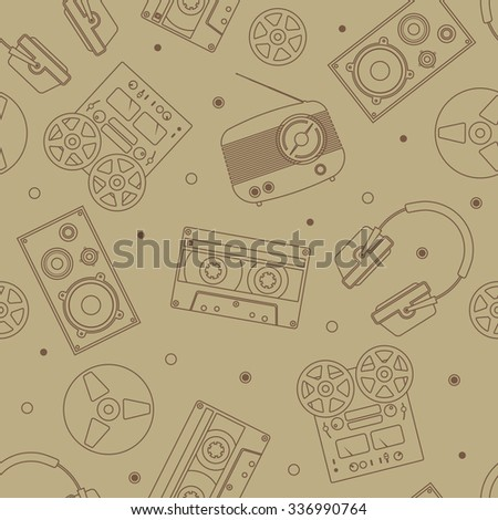 Audio equipment icons set. Sound accessories vector collection. Technology seamless pattern. Brown background with radio, headphones and other acoustic devices.