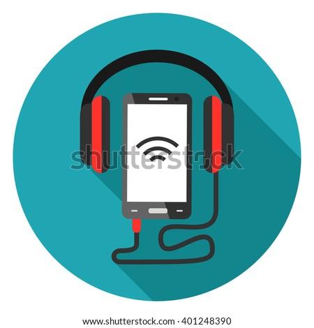 audio headphone and mobile icon - stock vector