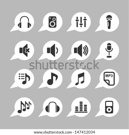 Audio icons - stock vector