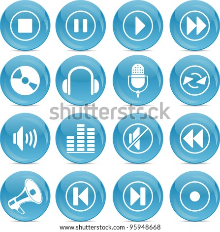 audio icons - stock vector