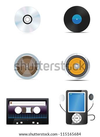 Audio icons set. Vector illustration - stock vector