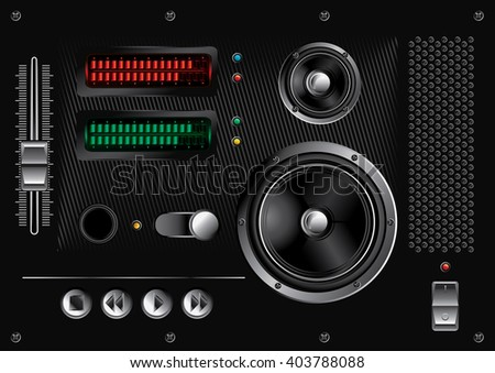 Audio interface design elements - stock vector