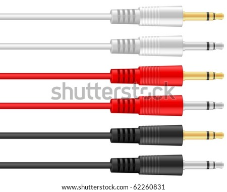 Audio jacks on a white background. Vector illustration. - stock vector