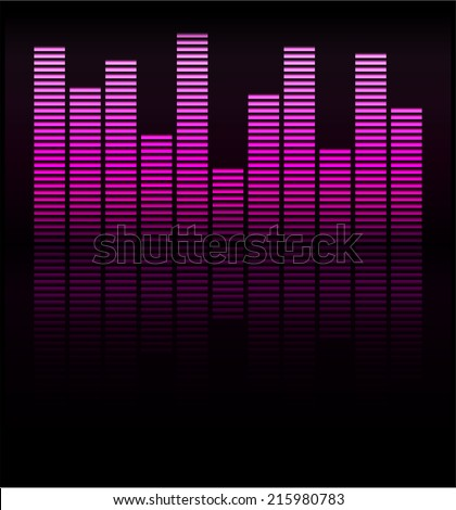 Audio level pink LED from Music Studio with reflection Vector. Color scale equalizer Vector. Music decibel Vector.