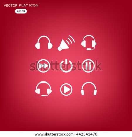 audio music icons - stock vector