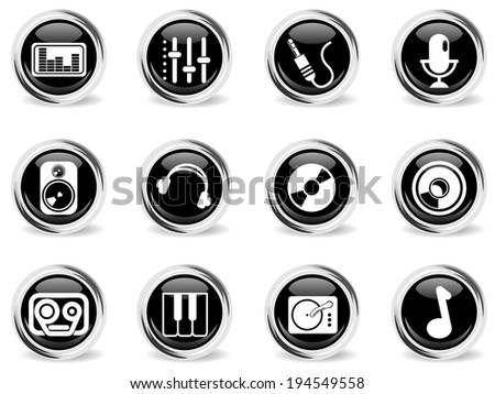 Audio & music vector icons - stock vector