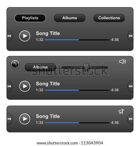 Audio Player Skin with play button. Vector illustration