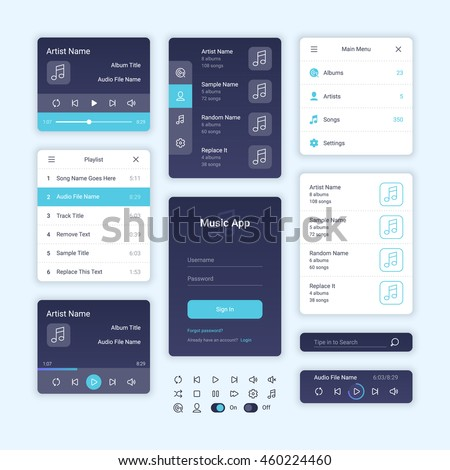 Audio Player User Interface Concept, Vector EPS 10 Illustration