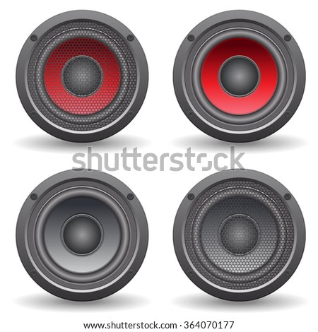 Audio speaker isolated on white background. Vector iilustration.