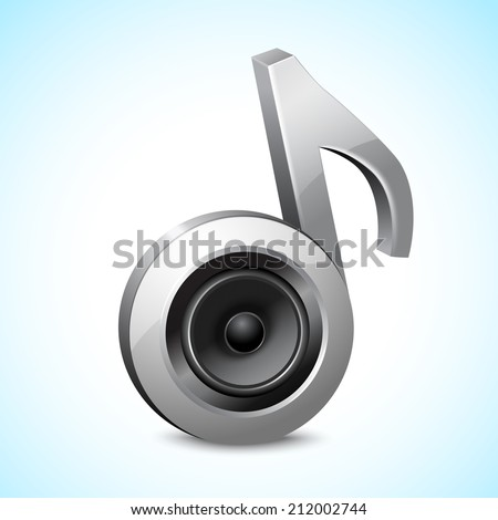 Audio speaker subwoofer system in note sign music concept isolated on white background vector illustration - stock vector