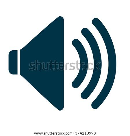 Audio Speaker Volume Icon dark  blue on white background vector illustration - stock vector