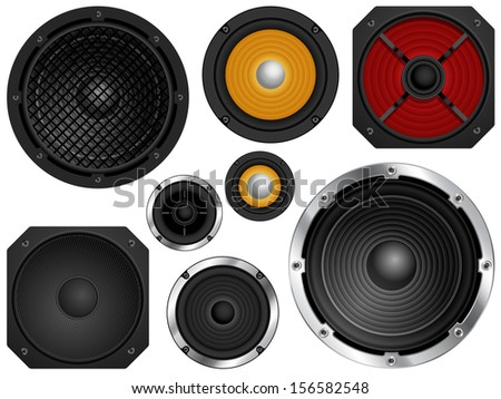 Audio speakers in different sizes and colors. Vector illustration  - stock vector