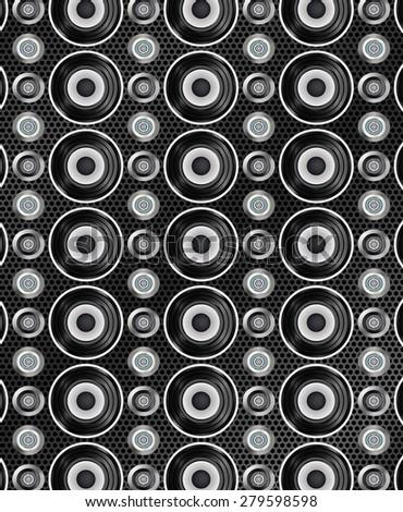 Audio speakers seamless pattern. Vector illustration - stock vector