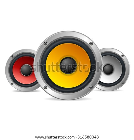 Audio Speakers Treble Isolated on White Background. Vector illustration