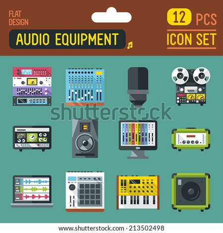 Audio studio and stage equipment flat long shadow icon set. Vector trendy illustrations.  - stock vector