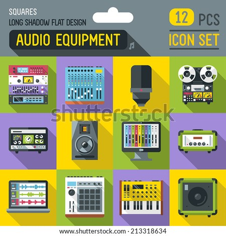 Audio studio and stage equipment flat long shadow square icon set. Vector trendy illustrations.  - stock vector