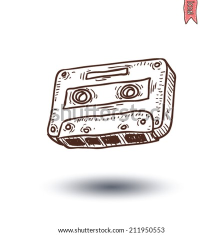 Audio tape cassette record, hand drawn illustration.