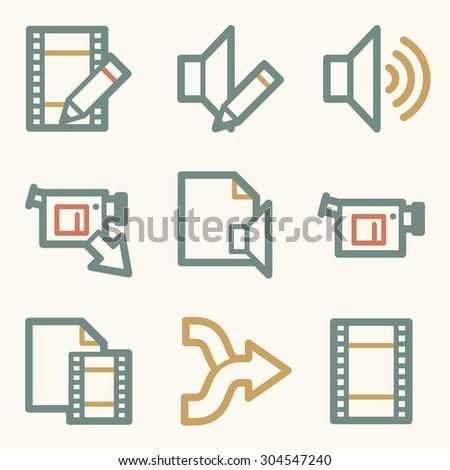 Audio video edit web icons contour stock vector 171285089 audio video edit web icons ccuart Images