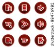 Audio video edit web icons, dark red circle buttons - stock vector