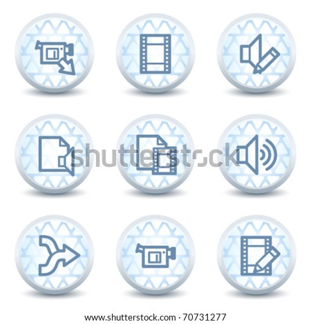 Audio video edit  web icons, glossy circle buttons