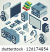 audio video element set - stock vector