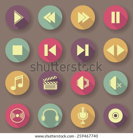 Audio video icons in bright colors. Vector buttons. Original design         - stock vector