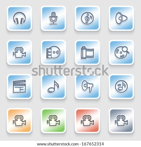 Audio video icons on color stickers.