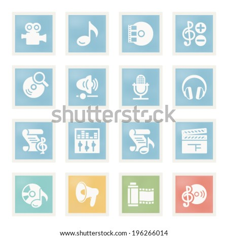 Audio video icons on paper. - stock vector