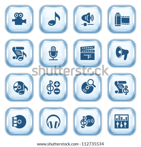 Audio video web icons on glossy buttons. - stock vector