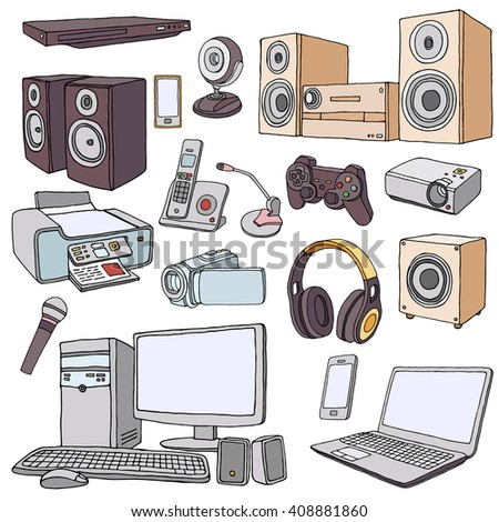 living room appliances. Audio Visual System Appliances for Living Room  Doodle illustration of audio video equipment Stock Vector HD Royalty