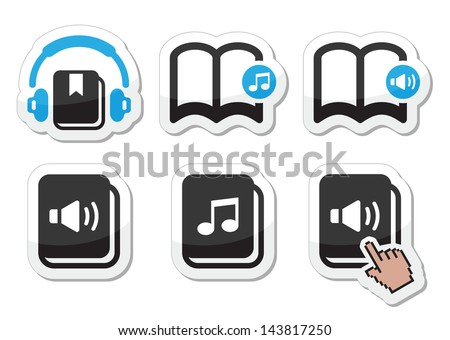 Audiobook vector icons set  - stock vector