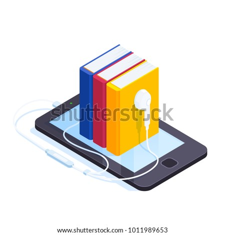 Audiobooks isometric concept. 3d pile of books with the headphones on the smartphone screen. Listening to e-books in audio format. Books online. Vector illustration.