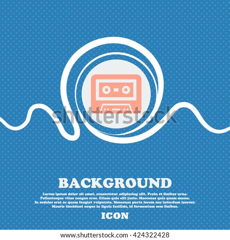 audiocassette icon sign. Blue and white abstract background flecked with space for text and your design. Vector illustration - stock vector