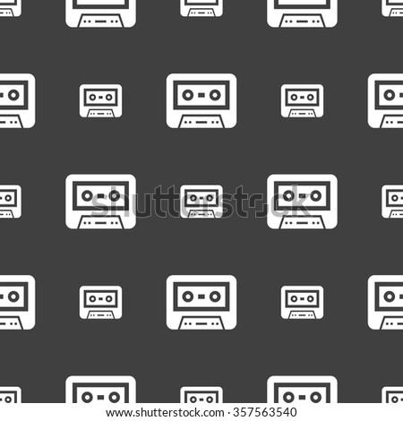 audiocassette icon sign. Seamless pattern on a gray background. Vector illustration - stock vector