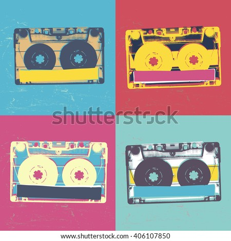 Audiocassette retro popart music seamless background. Vintage styled retro music seamless pattern - stock vector
