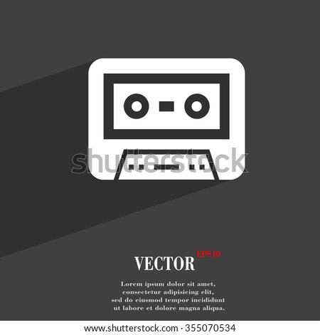 audiocassette symbol Flat modern web design with long shadow and space for your text. Vector illustration - stock vector