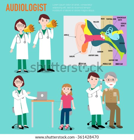 Audiologist , audiology , anatomy of ear vector infographic illustration EPS10. - stock vector