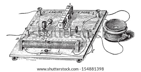 Audiometer of Baratoux, search for auditory acuity, vintage engraved illustration. Usual Medicine Dictionary - Paul Labarthe - 1885.  - stock vector