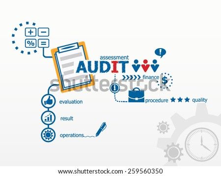 Audit - analyze a company. Hand writing Audit with blue marker. - stock vector