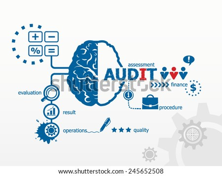 Audit - analyze the financial statement of a company. Several possible outcomes of performing an audit  - stock vector