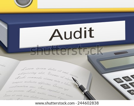 audit binders isolated on the office table - stock vector