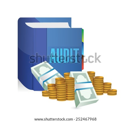 audit book and money illustration design over a white background - stock vector
