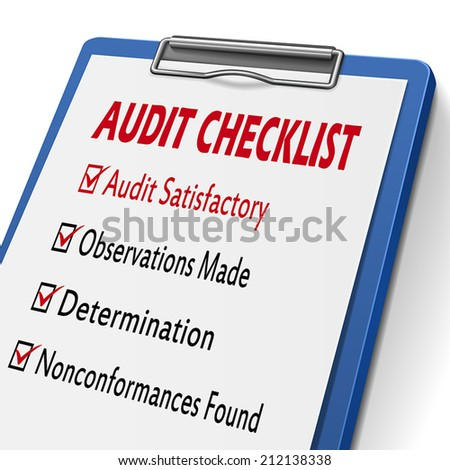 audit checklist clipboard with check boxes marked for related concepts - stock vector