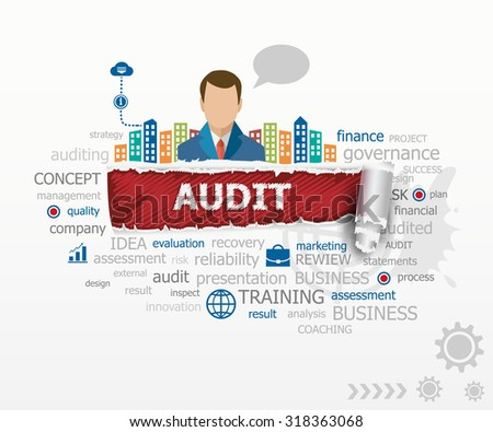 Audit concept word cloud and business man. Audit design illustration concepts for business, consulting, finance, management, career. - stock vector
